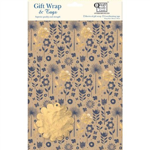 Gift Wrap & Tags - Kraft Floral