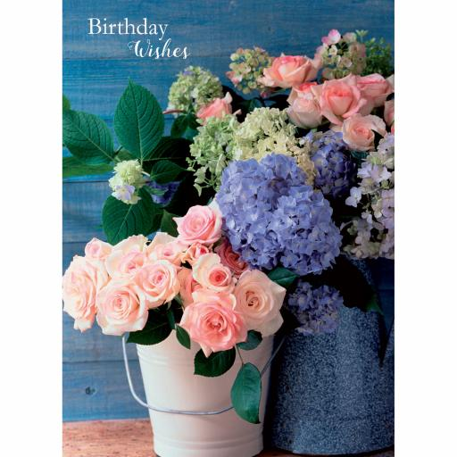 Floral Birthday Card - Rose & Hydrangeas
