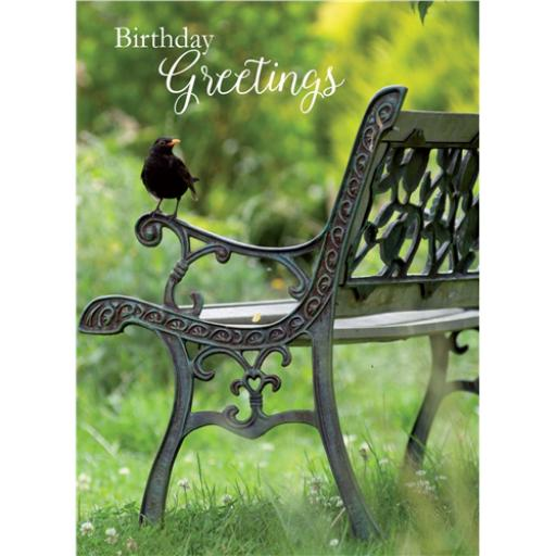 Floral Birthday Card - Blackbird On Bench