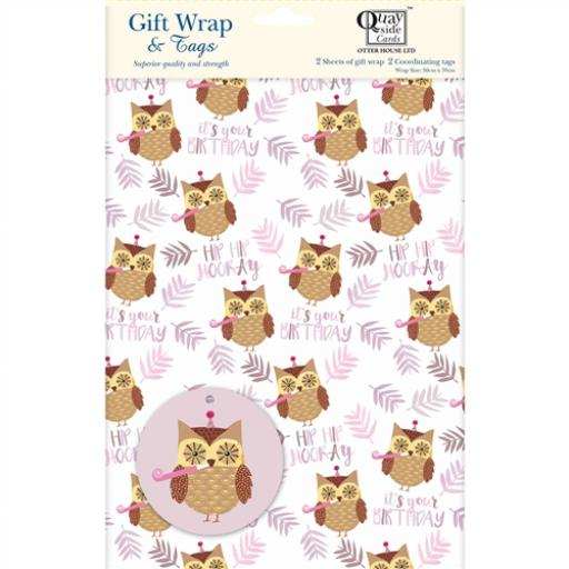 Gift Wrap & Tags - Birthday Owl