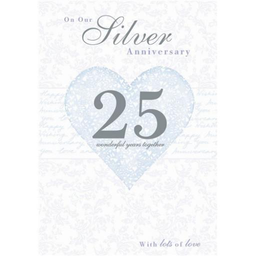 Anniversary Card - Silver Heart (Our Silver Anniversary)