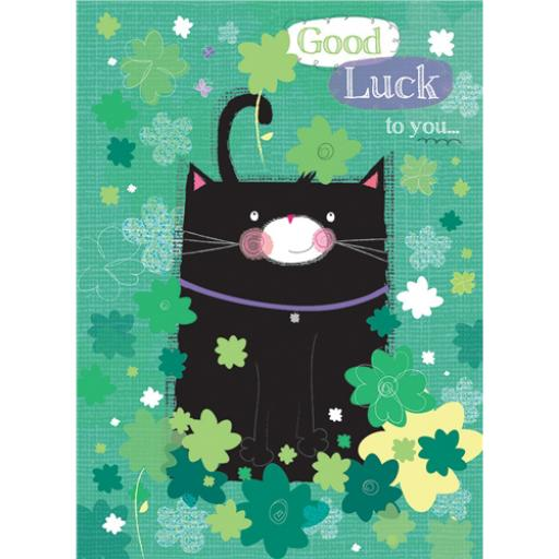 Good Luck Card - Lucky Black Cat In Clover