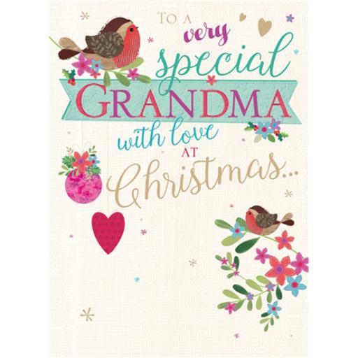 Christmas Card (Single) - Grandma 'Robins & Text'