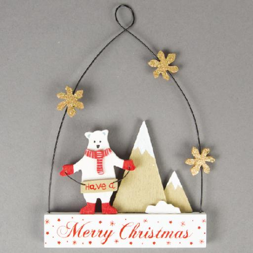 Merry Christmas Polar Bear Decoration