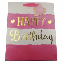 Gift Bag (Large) - Watercolour Birthday (Pink)