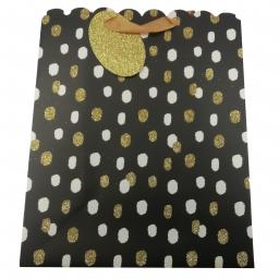 Gift Bag (Large) - Gold & White Spots