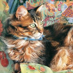 Cats By Chrissie Snelling Card - Green Eyes