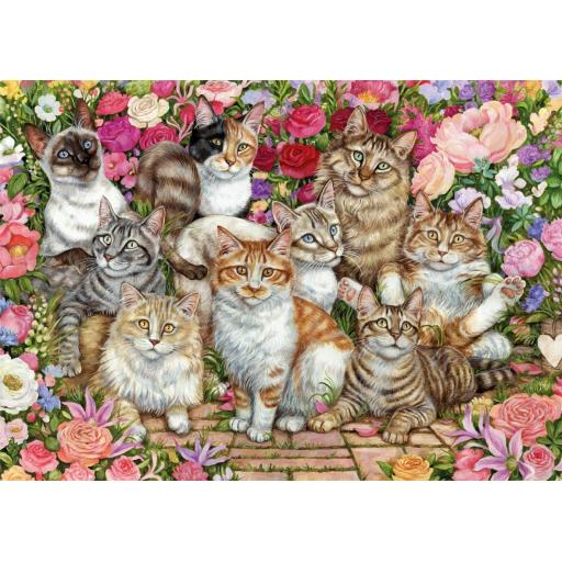 Floral Cats 1000 Piece Jigsaw