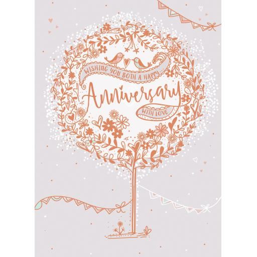 Anniversary Card - Love Birds In Tree (To You Both)