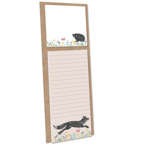 RSPB Natures Print - Magnetic Memo Pad With Sticky Notes - Fox & Hedgehog