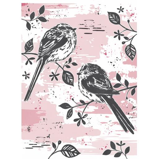 RSPB Card - Wild Meadow Card - Two Long Tailed Tits