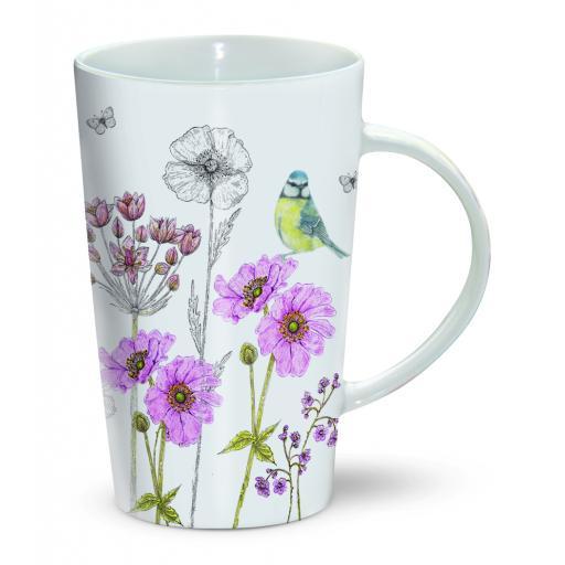 Latte Mug - Blue Tit & Flowers
