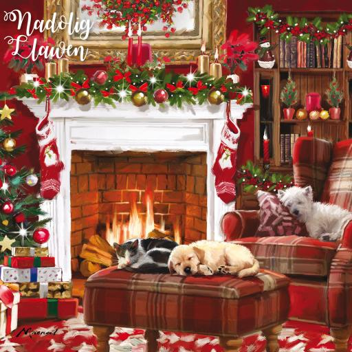 Welsh Christmas Cards (Large) - Cosy Fireplace