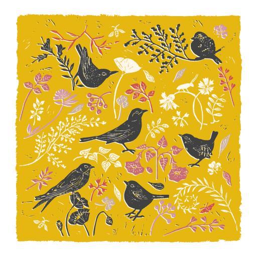 RSPB Natures Print Card - Floral Pattern Birds