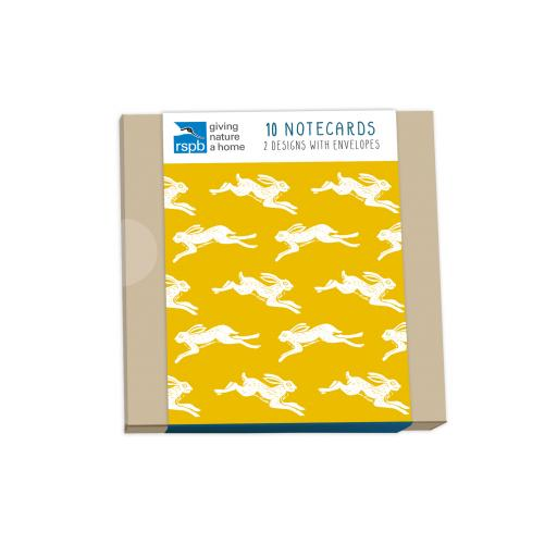 RSPB Natures Print - Notecard Pack (10 Cards) - Hopping Hares