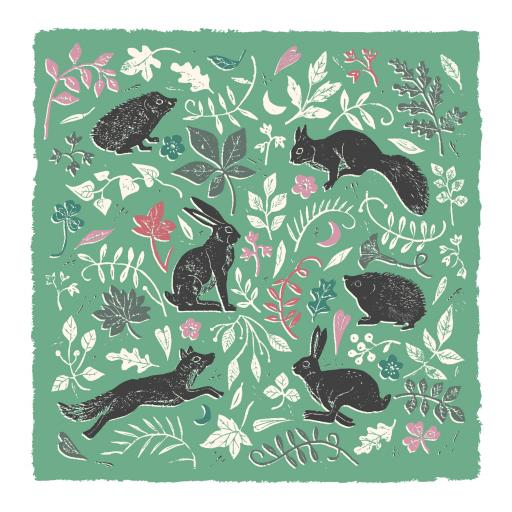 RSPB Natures Print Card - Floral Pattern Animals