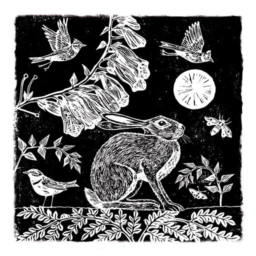 RSPB Natures Print Card - Hare & Moon
