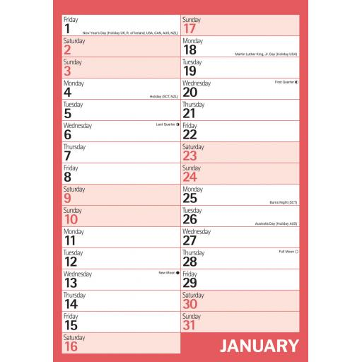 Red & Black Monthly Engagement A4 2021 Calendar