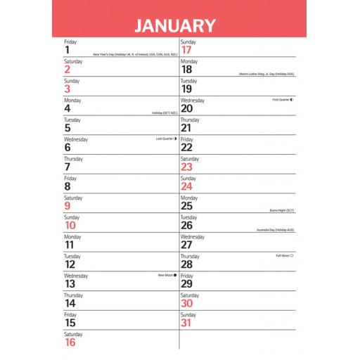 Red & Black Large Engagement A3 Calendar 2021