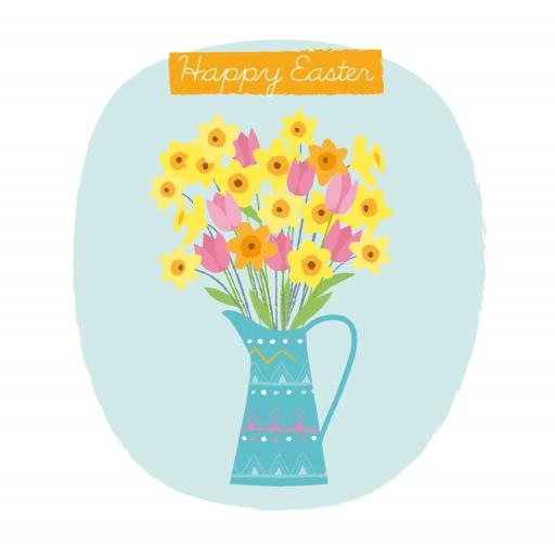 Easter Card Pack - Vase Of Daffodils