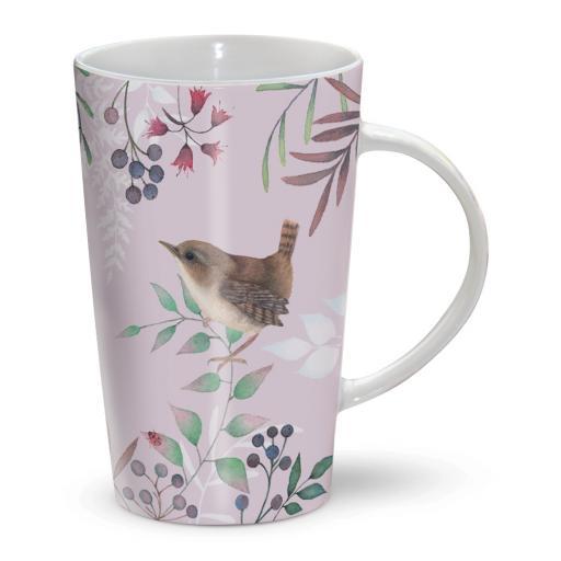 Latte Mug - Vintage Garden - Lilac Floral & Birds