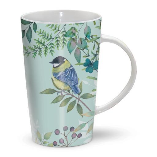 Latte Mug - Vintage Garden - Green Floral & Birds