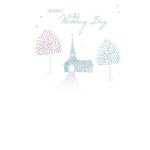 Wedding Card - Church & Blossom Trees