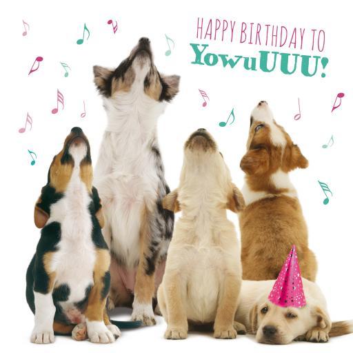 Pet Pawtrait Card - Howling Pups (Birthday Card)