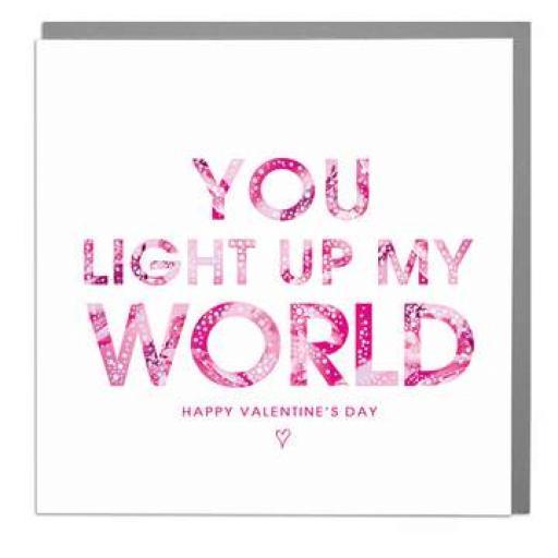 Valentines Day Card - Light Up My World