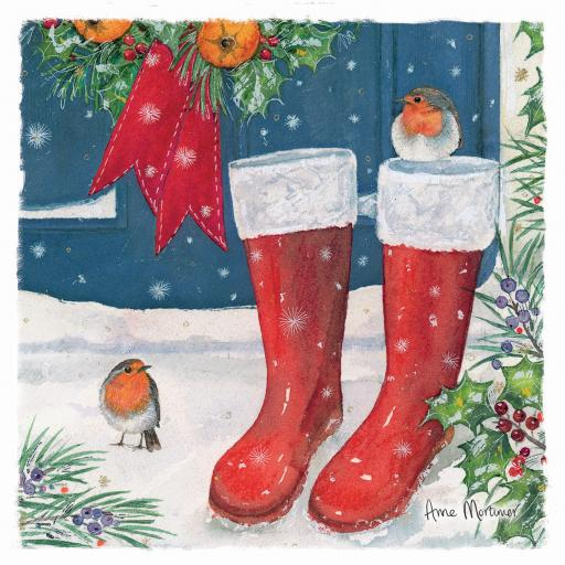 Charity Christmas Card Pack - Snowy Boots