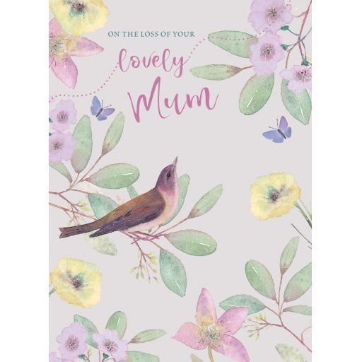 Sympathy Card - Floral Bird (Mum)