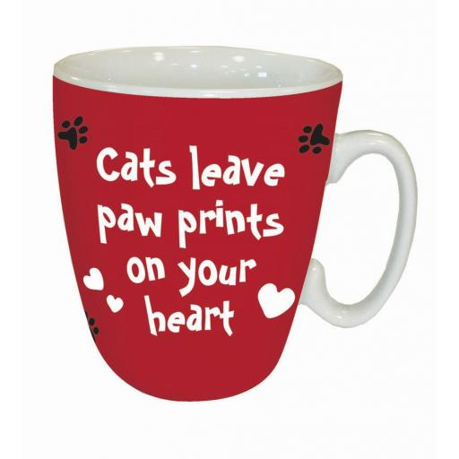 Curved Mug - Cats Leave Pawprints