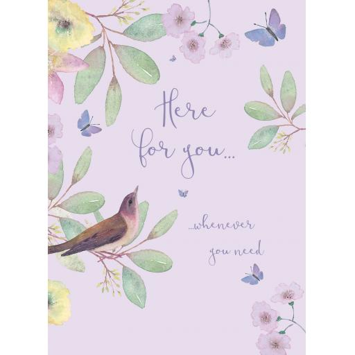 Thinking Of You Card - Lilac Bird Floral