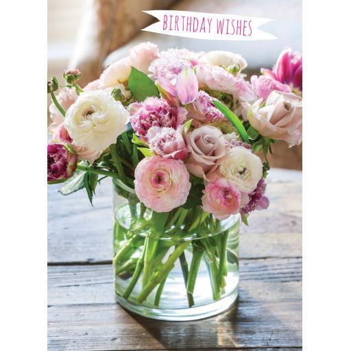 Floral Birthday Card - Rannunculus & Roses