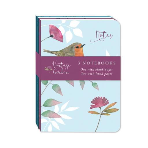 Vintage Garden Stationery - A6 Mini Notebooks (3 Pack)