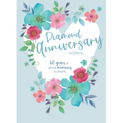 Anniversary Card - Floral Heart (Diamond)