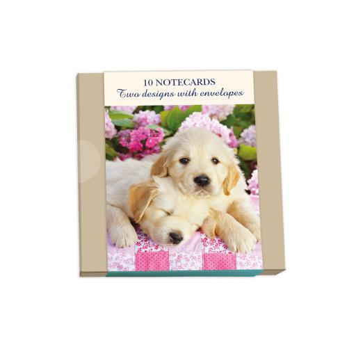 Notecard Wallets (10 Cards) - Puppies & Flowers