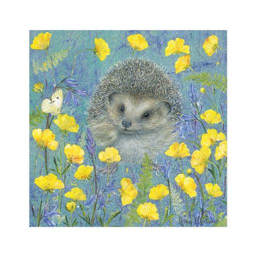 Enchanted Wildlife Card - Hedgehog In Primroses
