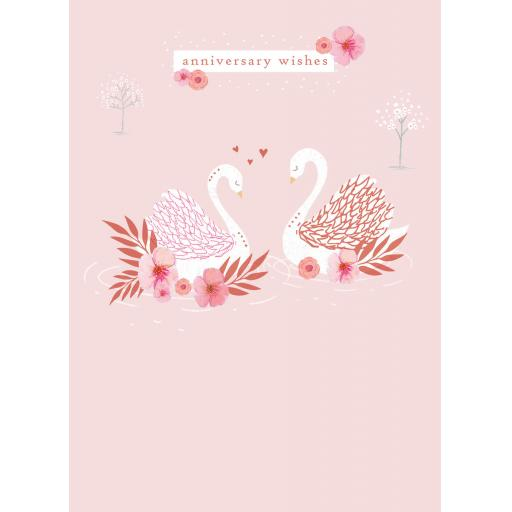Anniversary Card - Swans On Peach (Open)