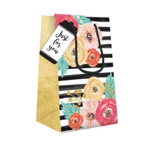 Gift Bag (Small) - Black & White Floral