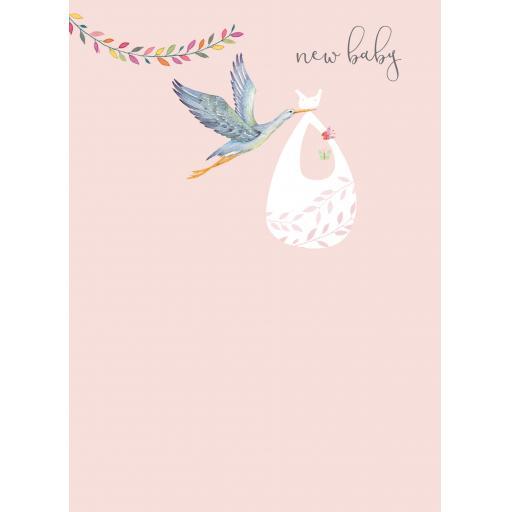 New Baby Card - Stork & Bundle (Girl)