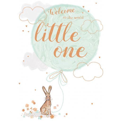 New Baby Card - Hare & Balloon