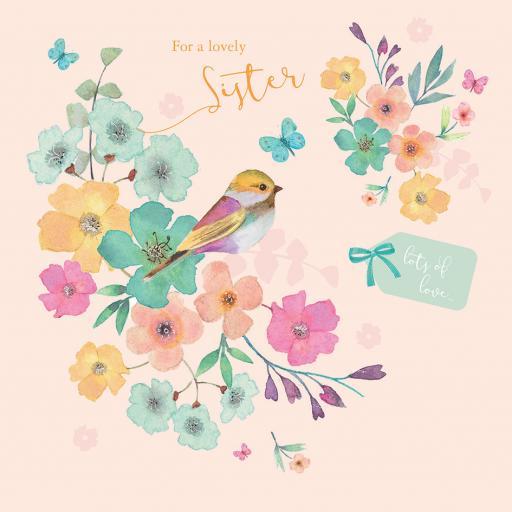 Family Circle Card - Bird & Tag Floral (Sister)