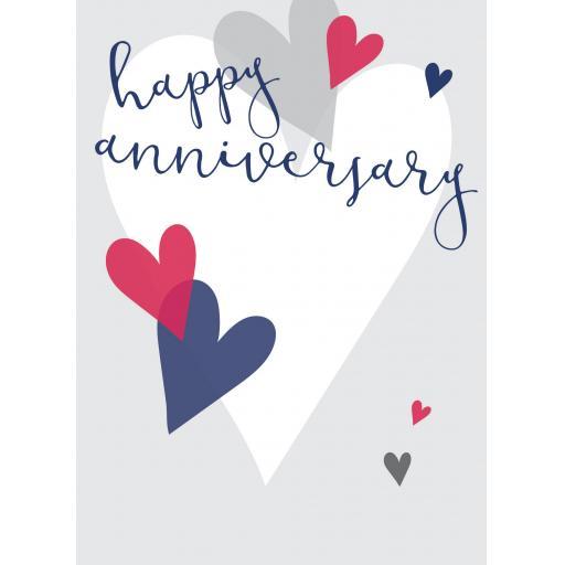 Anniversary Card - Emboss Hearts