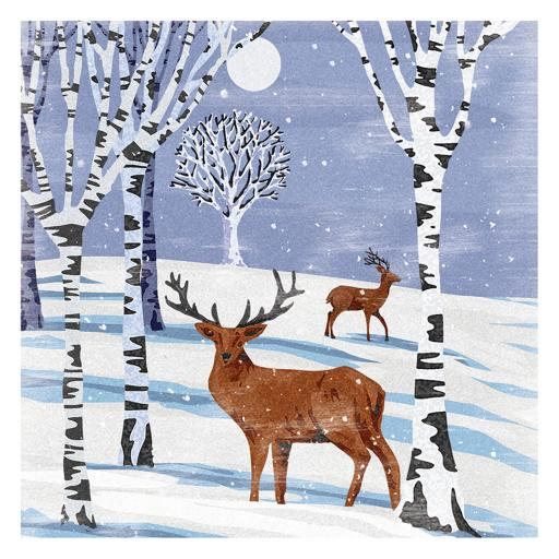 RSPB Small Square Christmas Card Pack - Woodcut Winter