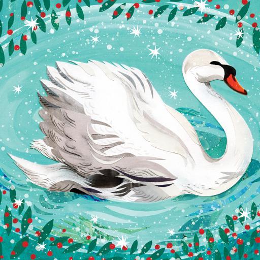 RSPB Small Square Christmas Card Pack - Seasonal Swan