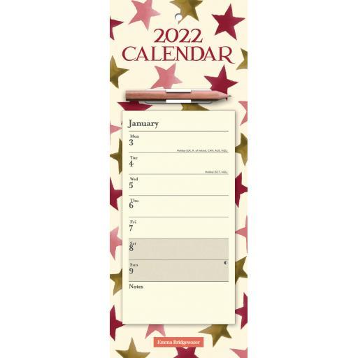 Emma Bridgewater Pink & Gold Stars WTV Magnetic Calendar 2022