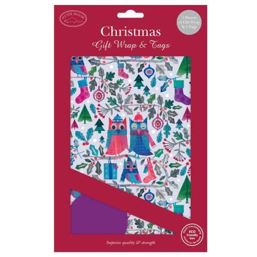 Christmas Wrap & Tags - Cosy Owls