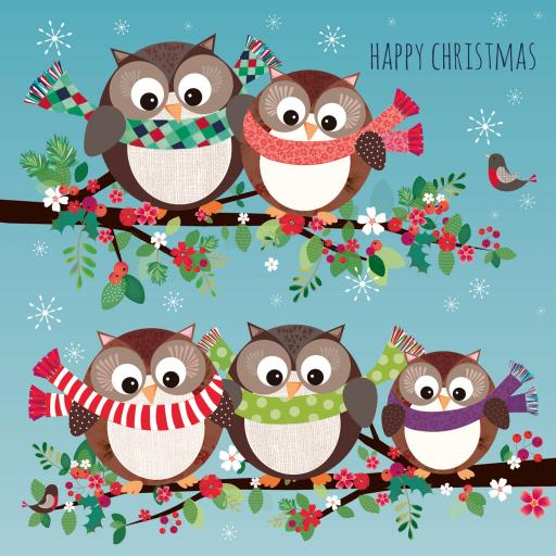 Charity Christmas Card Pack - Owl Party