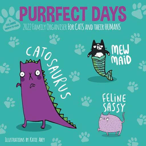 Purrfect Days Family Organiser Wall Planner 2022
